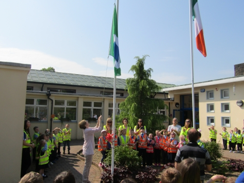 Raising our 4th Green School Flag